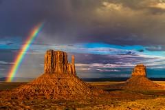 Only rainbow for Monument Valley! (Willmore G.) Tags: monumentvalley arizona arizonapassage utah rock rainbow canon usa nature landscape magic clouds sky sun ray amateur breathtaking breathtakinglandscapes mittens tribal