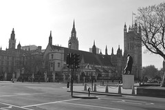 Watchful (dhcomet) Tags: westminster london democracy parliament uk terror terrorist attack defiance politics defend square statue winston churchill palace houseoflords victoriatower