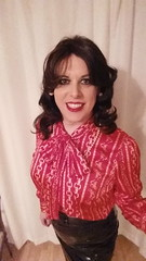 March 2017 - satin blouse pvc skirt (cilii_77) Tags: tgirl satin elegant blouse pvc skirt dinner makeup lipstick crossdresser