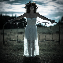 Dark Angel (DevilnBaggyPants) Tags: colorado dark angel wings bedframe outdoors mountains headdress white dress pain strain