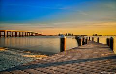Golden Hour Along The Dock (Stuart Schaefer Photography) Tags: navarrepark navarre florida sunset goldenhour seascape pier evening water sky outdoorphotography outdoors