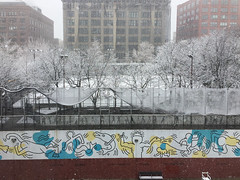 TQ-snow-8946 (teqmin) Tags: keithharing mural hudsonsquare greenwichvillage snow lookingwest outdoorpool winter nyc newyorkcity newyork