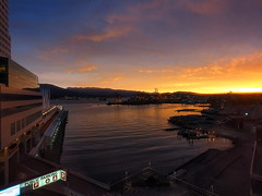 Dawn in Vancouver (Digidoc2) Tags: canadaplace vancouver canada dawn lights harbour buildings sun water reflections sky clouds