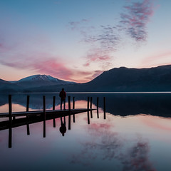 Reflect (Rick Bebbington) Tags: 06softgrad 1024mm blencathra clouds colour dawn derwentwater fujifilm jetty lake lakedistrict lakes landscape leefilters person pier reflection selfportrait twilight water xt1 still tranquil