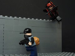 Arsenal Takedown (MrKjito) Tags: lego minifg super hero comics comic arsenal red arrow speedy green roy harper archer robber taje down archery bow