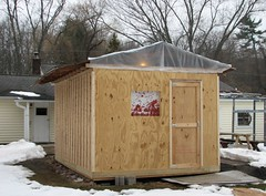 THE WORKSHOP...SO FAR (richie 59) Tags: ulstercountyny ulstercounty newyorkstate newyork unitedstates weekend saturday townofesopusny townofesopus spring richie59 stremyny stremy outside constructionarea constructionsite backyard yard workzone home shed 2017 march2017 march252017 workshop 2010s america building woodenbuilding hudsonvalley midhudsonvalley midhudson nystate nys ny usa us snow trees plywoodshed renovation backdoor