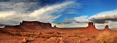 monument valley 2013 panorama shot nikon 7 (houstonryan) Tags: ryan houston houstonryan 2013 monument valley april lovely spires redrock reflect clouds navajo nation southeastern utah northeastern arizona photograph photographer nikon d300s tripod landscape landscapes gorgeous amazing breathtaking stunning