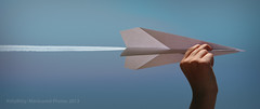 Paper Airplane (KittyBitty: Manicured Photos) Tags: sky photomanipulation photoshop plane paper hand perspective illusion concept conceptual opticalillusion forcedperspective jettrail paperplane planetrail kittybittymanicuredphotos kittybiity