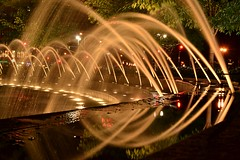 Columbus Circle Fountains Fast (matthewbecker82) Tags: nyc newyorkcity ny newyork reflection water photography nikon manhattan midtown flowing fountains nikkor columbuscircle d3100