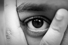 """An eye for an eye only ends up making the whole world blind."" ~ Mahatma Gandhi (SeptemberRayne) Tags: world light white black eye monochrome beautiful face contrast thought blind framed fingers stare blindness heal eyeforaneye provoking"
