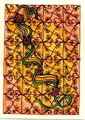 Swap - Beginner ATC-1 for 1-June (ronniesz) Tags: strings doodles zia prismacolor penink tangles zentangle