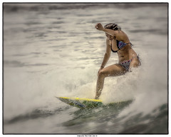Beauty and Grace (Konaflyer) Tags: woman art girl beauty hawaii nikon surf surfer surfing grace basin surfboard balance honolulu kewalo d7000 markpatton