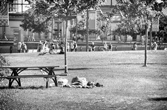 alone in the crowd (lynn.h.armstrong) Tags: camera old trees sleeping people bw white signs ontario canada man black art monochrome grass bike port bag lens beard table photography photo aperture nikon long picnic flickr afternoon photographer quebec wordpress montreal south homeless crowd wb blogger images lynn livejournal h getty nik nikkor crutches armstrong stormont vieux facebook sault ingleside twitter tumblr d7000 lynnharmstrong pinterest