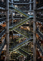 Lloyds Escalator (LeePellingPhotography.co.uk) Tags: city house london yellow stairs cityscape open escalator bank insurance lloyds 2013