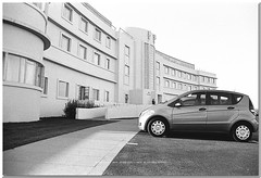The Midland Hotel : Morecambe : Nikon FE Tamron 59A AD2 28 - 70mm F3.5 - 4.5 Lens : Agfapan 100 sold as Jessops Pan 100S : (norbet1) Tags: uk england bw english film monochrome photoshop blackwhite nikon noiretblanc zoom britain north wide scan lancashire adobe predigital british analogue fe agfa tamron morecambe manualfocus lenses agfaapx100 blackwhitephotos agfaapx100bwfilm tamronad259a2870mmf3545