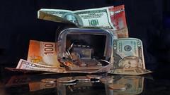 Broke the Bank (Bob (sideshow015)) Tags: usa money table coins top montreal bank cash piggybank savings argent tabletop banque