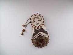 Matryoshka (Josie *) Tags: beads pattern handmade ribbon handsewn handstitched matryoshka nestingdolls russiandolls bagcharm matryoshkadoll babushkadolls ownpattern brownbeads
