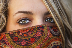 Girl (el_mo) Tags: reflection green eye girl eyes blonde pashmina blondie