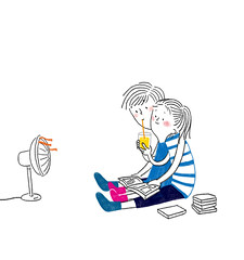 (CHASSAM) Tags: summer illustration couple illust