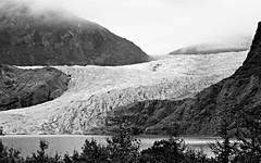Juneau AK ~ Mendenhall Glacier (karma (Karen)) Tags: juneau alaska mendenhallglacier glaciers ice mountains clouds monochrome bw sliderssunday hss topf25