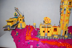 The lava stream (sander_koenen92) Tags: lego space mining tower lava platform outpost container ship crane crystals