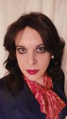 March 2017 - going out (cilii_77) Tags: tgirl crossdresser suit blouse bow satin elegant dinner makeup lipstick