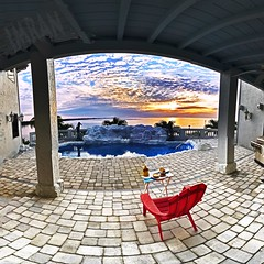 Dining Out At Home At Sunset - IMRAN™ - (My 74th Explore!) (ImranAnwar) Tags: apollobeach architecture blessed chair clouds desire dusk floria food home imran imrananwar iphone lifestyle love luxury panorama passion photoshop realestate simplicity sunset swimmingpool tampabay water