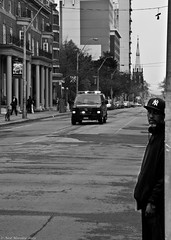 9 1 1 (Neil. Moralee) Tags: street blackandwhite bw white toronto canada man black monochrome america corner truck fire candid north 911 emergency bluelight d7000 neilmoraleenikon