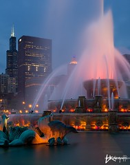 A Chicago Classic (Brian Koprowski) Tags: show park mist chicago tower water fountain skyline architecture night lights evening illinois spring pentax sears grantpark bluehour tamron hdr highdynamicrange buckinghamfountain k5 windycity tamron1750f28 willistower