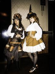Not Really Stolen Picture [...] (JF Sebastian) Tags: barcelona girls portrait hat sepia costume pub couple dress lolita corset steampunk morethan100visits morethan250visits nikoncoolpixs9100 eurosteamcon2012
