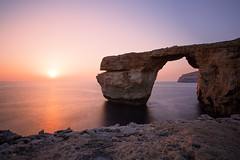 Malta - Azure Window (Floriantanplan) Tags: longexposure sunset sky cliff sun mer nature rose rock fairytale landscape eau malta ciel pont pierres paysage crpuscule falaise rocher gozo nd400