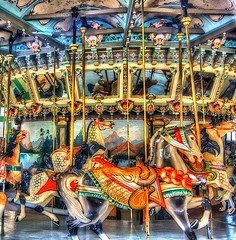 Carousel Horses (podolux) Tags: nikon ride carousel nikkor 2009 glenecho glenechopark postprocessing amusementride photomatix d40 april2009 nikond40 photomatixformac