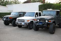 FJ45 vs FJCruiser vs LC79 doublecab. (shine_on) Tags: auto car truck desert 4x4 dunes wheels tires filter saudi arabia toyota dakar jeddah suv 35 fj landcruiser saudiarabia arb headers atx lifted fj45 oldmanemu fjcruiser fabtech doublecab dirtlogic superwinch procomp difflock lc79 at2s