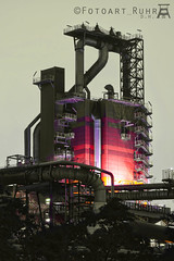 Coking plant tower - Colorkey (Fotoart Ruhr) Tags: blue red chimney plant green industry night stairs germany colorful factory darkness smoke towers tubes coke staircase pollution hour electricity nrw handrail coal duisburg ruhrgebiet fume coking balustrade cooling smolder colorkey conduct