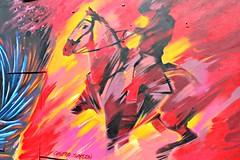 Cosmo Sarson, Upfest (8333696) Tags: street red urban horse orange streetart man art st yellow wall bristol tin graffiti mural paint artist north can spray riding painter spraypaint graff aerosol cosmo rider sarson upfest 2013