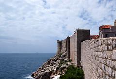Dubrovnik fortress (hardrockten) Tags: ocean city sky cloud sun tree wall forest person boat europe walk rocky croatia dubrovnik