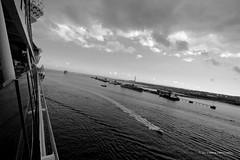 Leaving Port (TimeTraveller37) Tags: uk cruise sea water docks canon blackwhite cloudy unitedkingdom speedboat ripple ships traveller southampton waterways canon40d