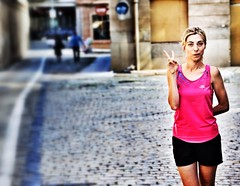 Stanislavski - Series (Jokin BCN) Tags: barcelona portrait sport funny factory running catalonia actress catalunya fitness runner fabraicoats
