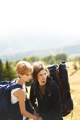 traveling girl in the mountains (Dima Viunnyk) Tags: road woman mountain man tree couple carpathian