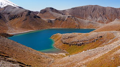Upper Tama Lake (blue polaris) Tags: park new travel blue newzealand lake island volcano spring scenery plateau north central olympus upper zealand national crater tama tongarironationalpark northisland lower tongariro northern volcanic circuit omd em5 centralvolcanicplateau