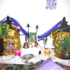 ccat27   Shrine in Hamilton, Scotland for the Urban Retreat 2013.                     Tara and Padmasambhava in a homely setting. #urbanretreat