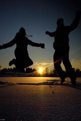 Jumping in the Snow (dokusaisha (photos)) Tags: winter sunset snow silhouette finland jump kiuruvesi