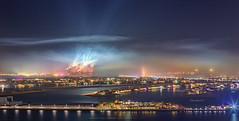 Smoggy Aftermatch of New Year Firework in Dubai (Charn High ISO Low IQ) Tags: longexposure nightphotography night dubai smoke uae spotlight unitedarabemirates hdr smoggy atlantishotel thepalmjumeirah canon6d hdrefexpro newyear2014celebration fireworkaftermatch