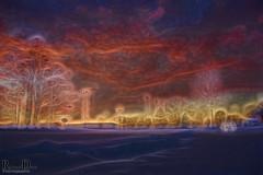 Post snow storm Sunset - 1-2-2014 (RickDrew) Tags: park trees winter sunset white snow cold evening illinois freezing il snowfall goldenhour centennialpark oaklawn 2014 orangem