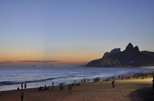 -Ipanema beach after the sunset-