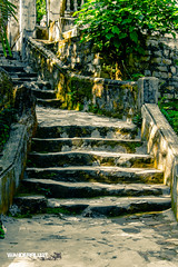 Marble Mountain 1 (hughderr) Tags: old travel mountains beautiful stone stairs temple amazing flickr tour buddha religion buddhism an vietnam adventure hoian hidden worn mysterious cave marble split vc tone touring crooked hoi danang splittone wanderrlust