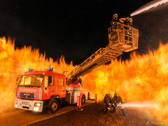 firefighters at work (andi 11) Tags: lightpainting vehicle feuerwehr firefighters feuerwehrmann firepainting metzaerials eberhardwolter flammenartistde florian301 freiwilligefeuerwehrroth l32dlk2312 manle14285