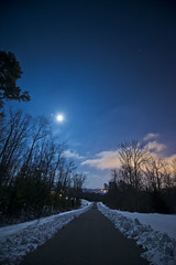 moon and stars (TBaum Photography) Tags: road trees winter moon house snow weather night clouds stars nikon d600