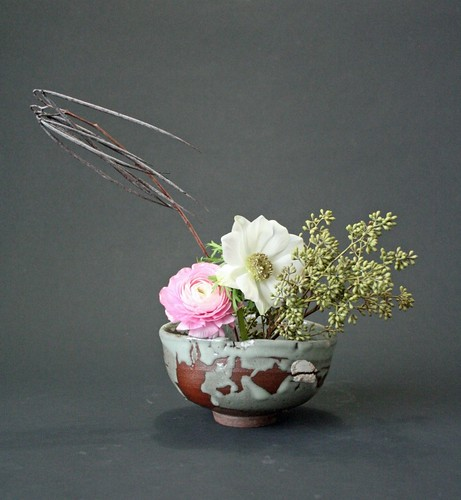 Ranunculus, Anemone, Seeded Eucalyptus and Dried Pods
