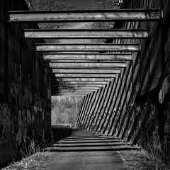beams. (angsthase.) Tags: bw 6x6 lines germany square concrete deutschland graffiti blackwhite shadows steel nrw schwarzweiss schatten ruhrgebiet dortmund stahl 2014 ruhrpott micro43 epl5 olympuspenepl5 olympusm25mmf18